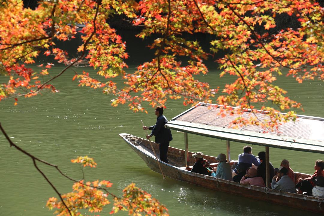 乘著遊船欣賞嵐山的楓紅,視野不同,感受到的美感也很新鮮。