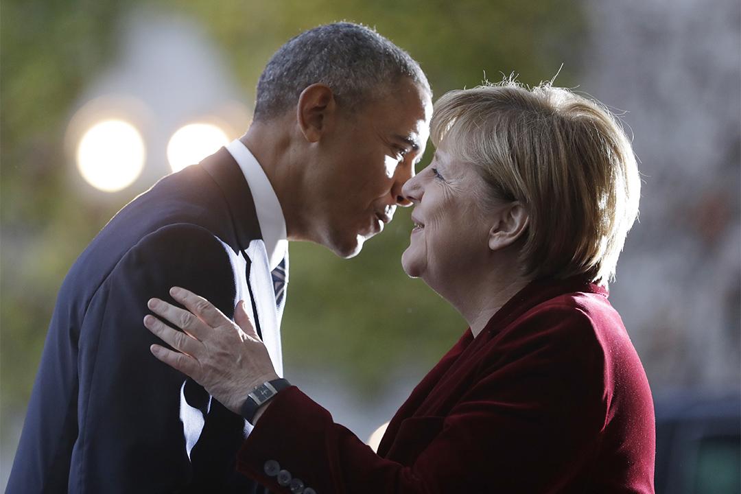 2016年11月17日,德國柏林,美國總統奧巴馬訪問德國,與德國總理默克爾會面。