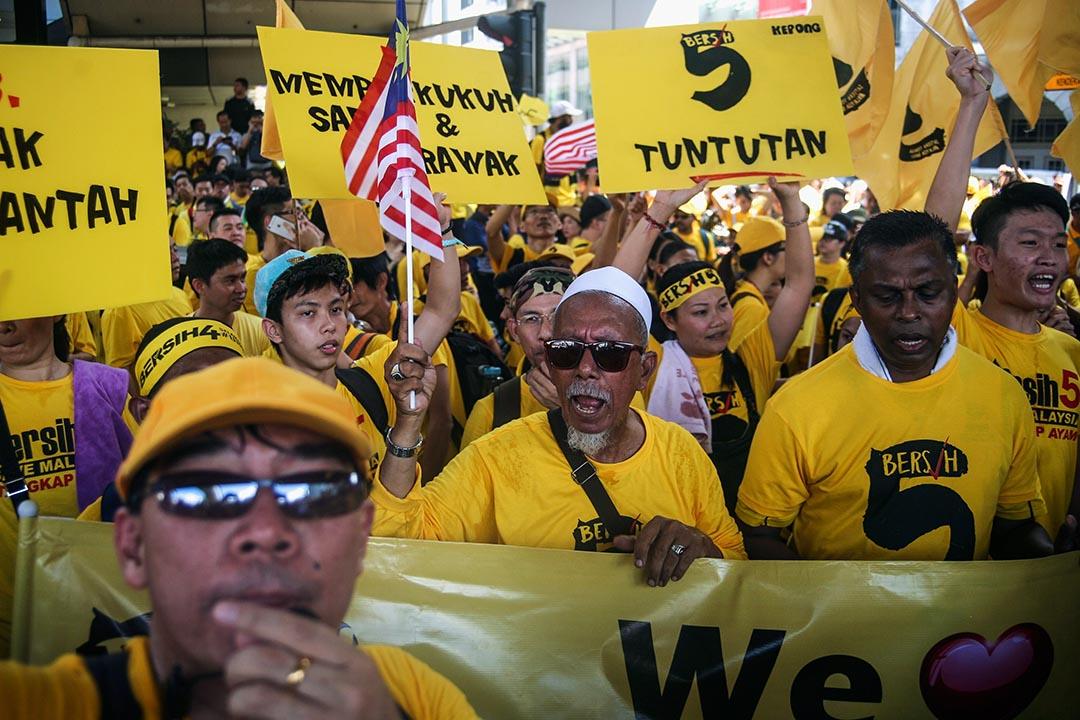非政府組織「乾淨選舉聯盟」發起第五次全國集會,市民走上街抗議,要求首相納吉下台。