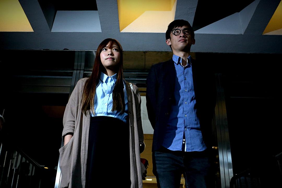 青年新政梁頌恆及游蕙禎就宣誓的司法覆核案到高等法院應訊。