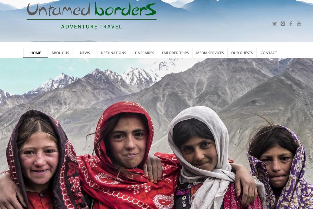 Untamed Borders 旅遊公司網站主頁。