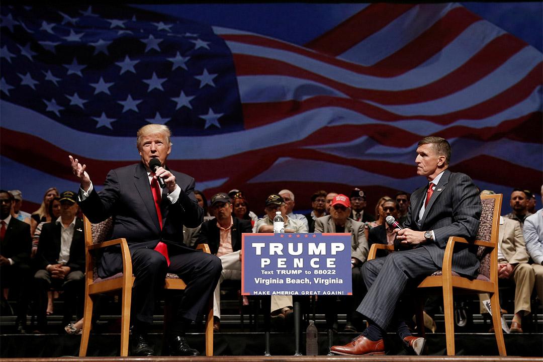 美國候任總統當特朗普與將出任白宮國家安全顧問的退役中將佛林(Michael Flynn)。