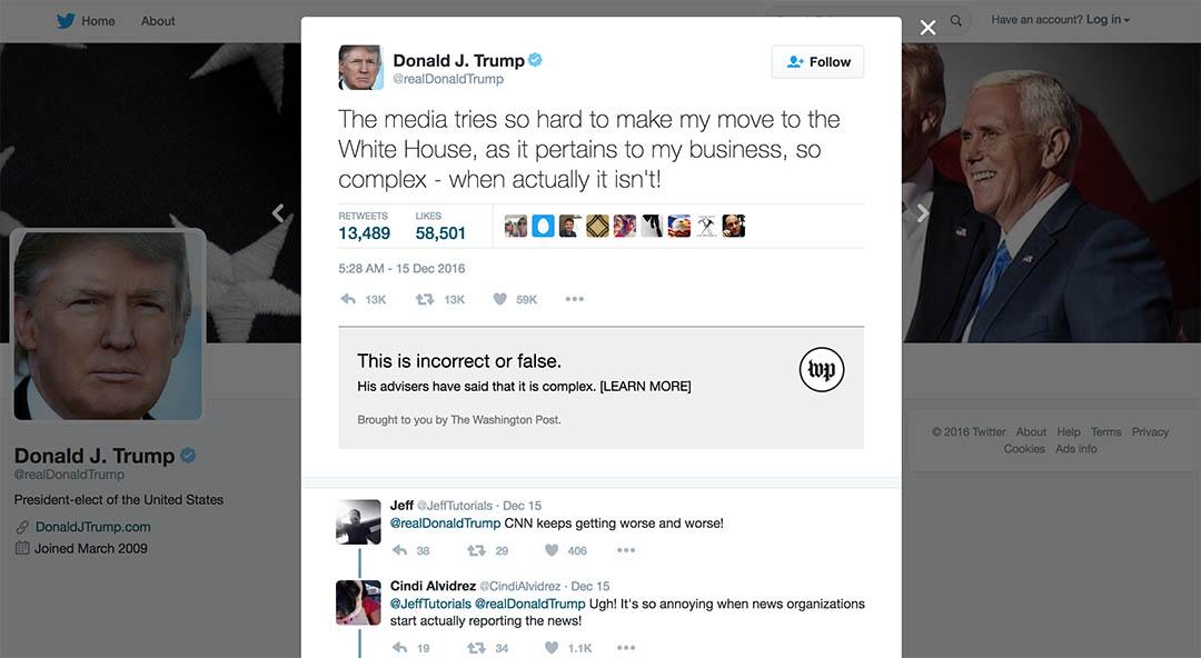華盛頓郵報發布一個軟件,可以檢測twitter上關於特朗普的新聞是否屬實。