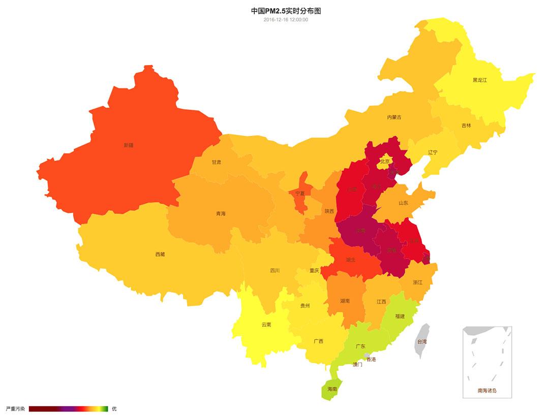 中國空氣質量在12月15日至21日的變化。圖-12月16日。