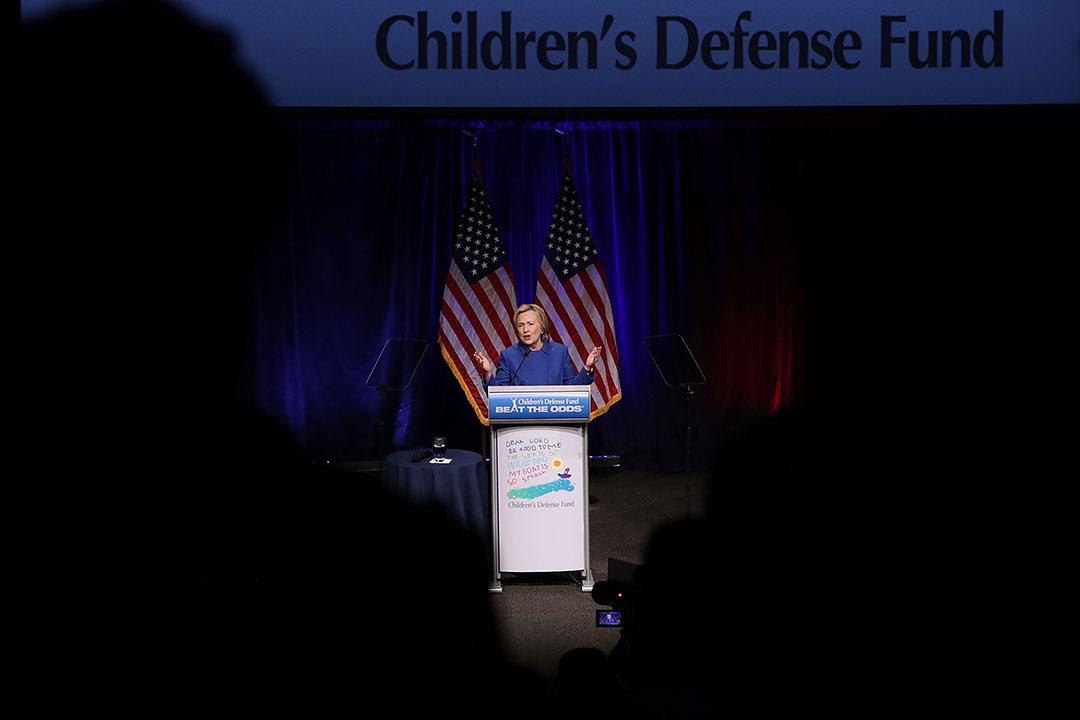 希拉莉在華盛頓演講。