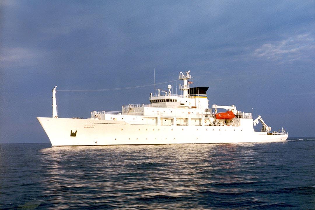 2016年12月16日,中國軍艦在南海扣留了美國海洋探測船「鮑迪奇號」(USNS Bowditch)的水下無人潛航器(Underwater Drone)。圖為「鮑迪奇號」(USNS Bowditch)。