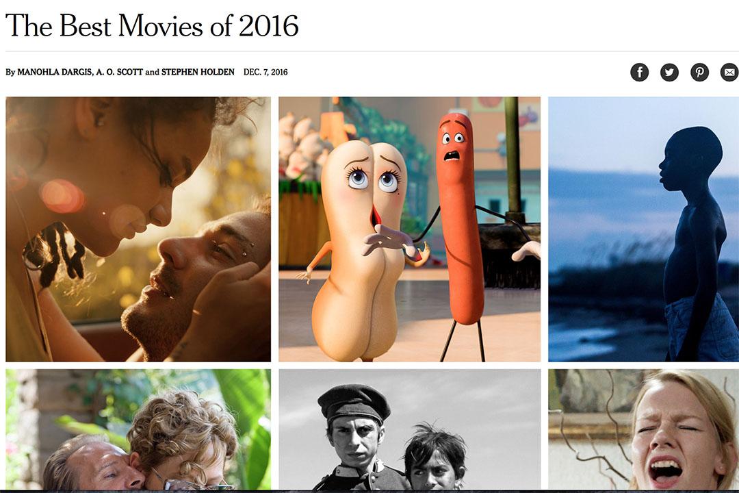紐約時報刊登了2016年的年度最佳電影。