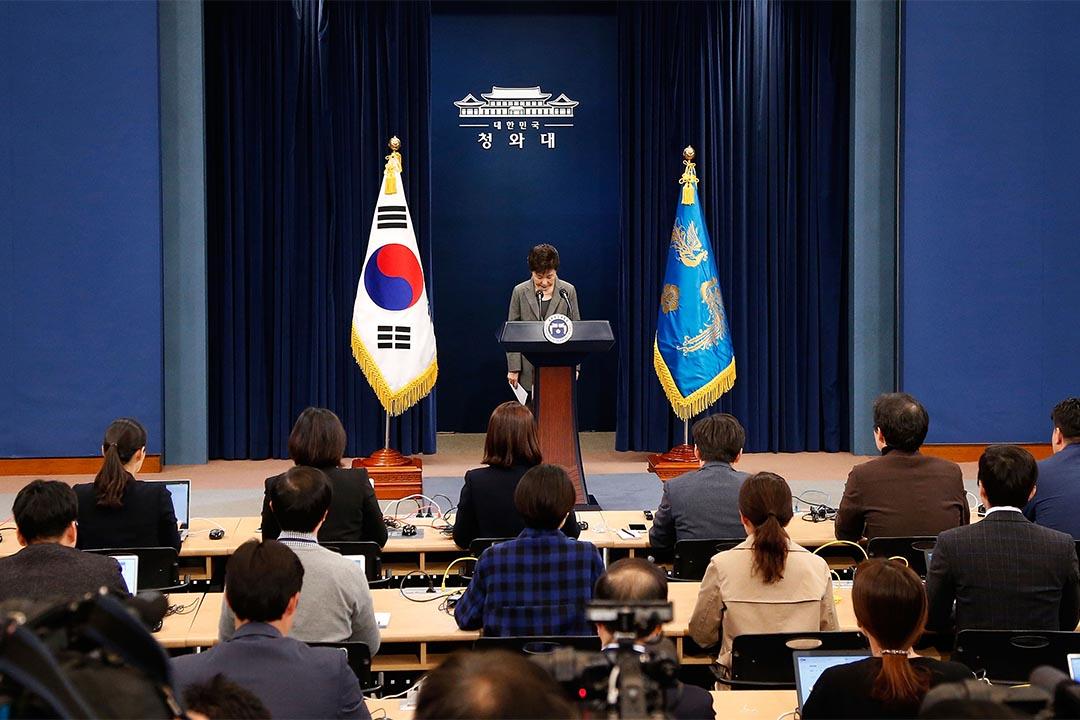 南韓國會全體會議將表決總統朴槿惠的彈劾動議。圖為南韓總統朴槿惠發表全國講話。