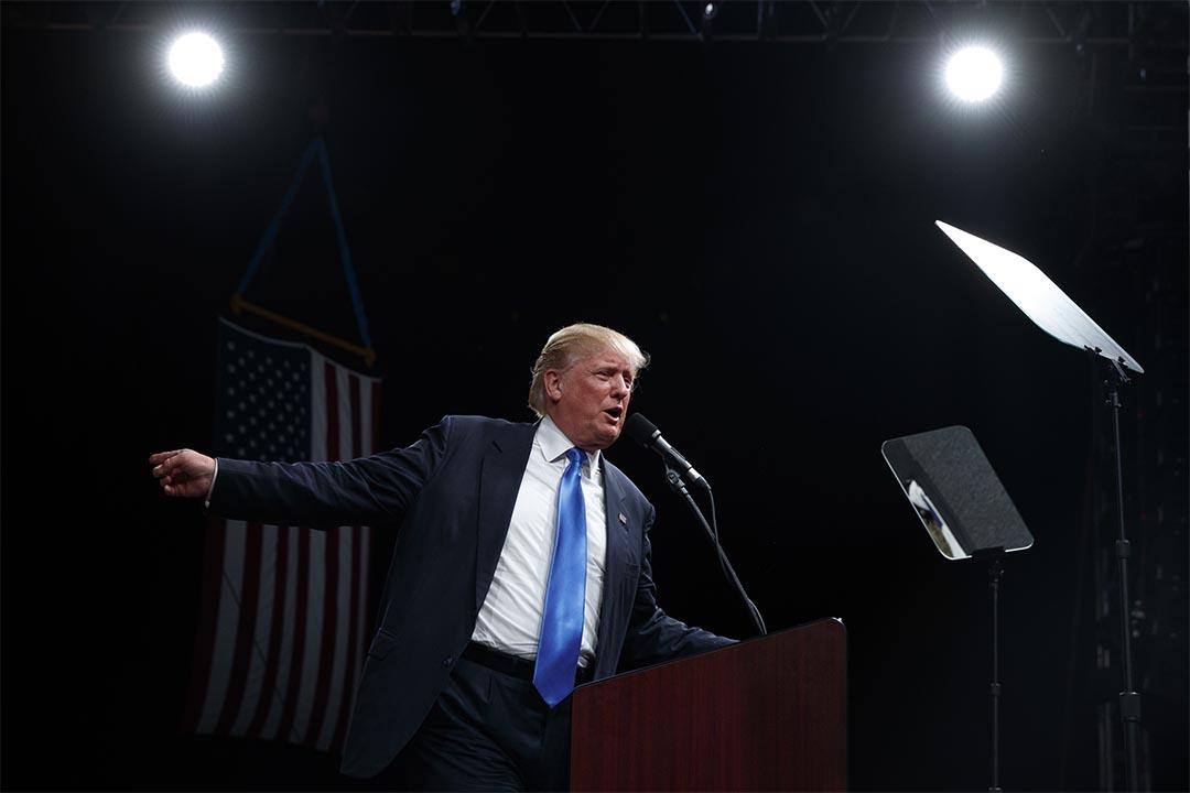 2016年11月3日,特朗普在競選活動中演講。
