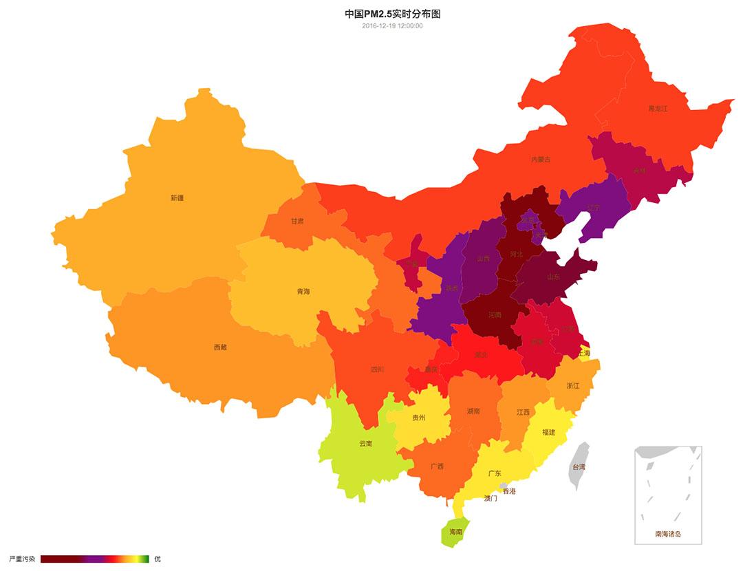 中國空氣質量在12月15日至21日的變化。圖-12月19日。