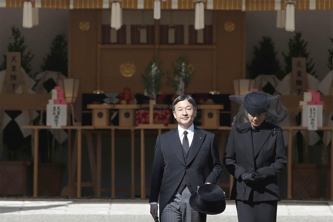 圖為2016年11月4日,日本東京,昭和天皇幼弟三笠宮崇仁親王的葬禮儀式舉行,日本皇太子德仁和太子妃雅子出席。