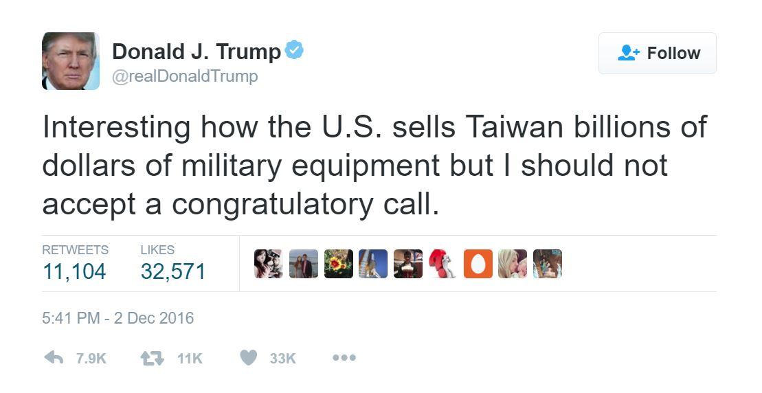 特朗普 Twitter 截圖。