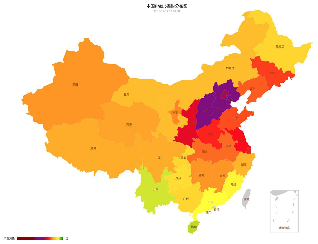 中國空氣質量在12月15日至21日的變化。圖-12月17日。