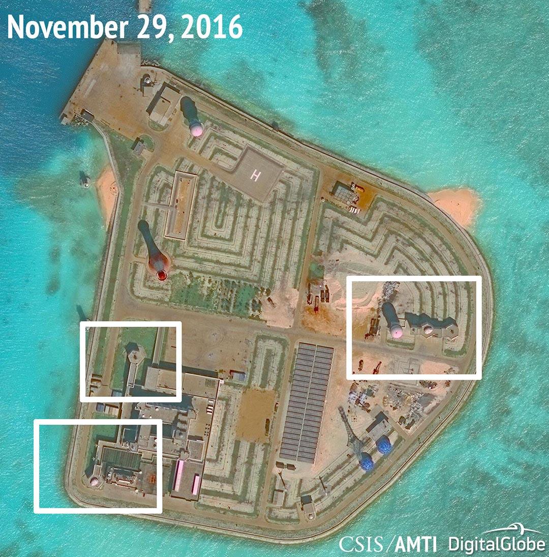 衞星圖片發現中國在南海爭議島嶼疑似部署軍事設施。