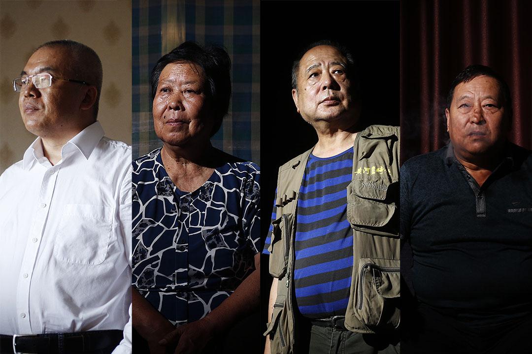 律師李樹亭、聶樹斌母親張煥枝、記者馬雲龍、警察鄭成月,持續21年的洗冤之戰。 攝:Wu Hao/端傳媒
