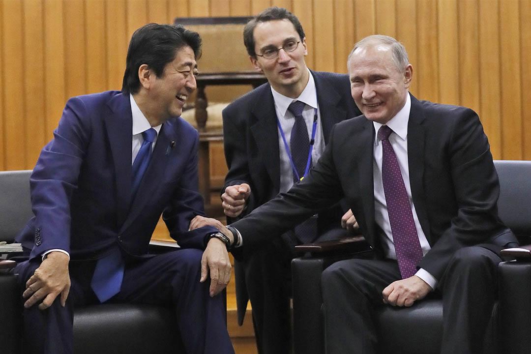 2016年12月16日,日本東京,首相安倍晉三與俄羅斯總統普京會面。