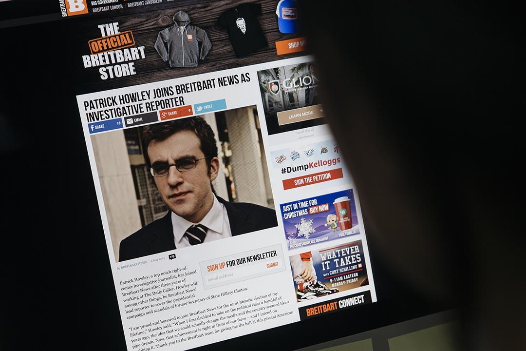Breitbart新聞網介紹記者豪利(Patrick Howley)加入的報導。