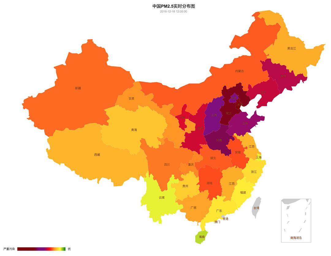 中國空氣質量在12月15日至21日的變化。圖-12月18日。