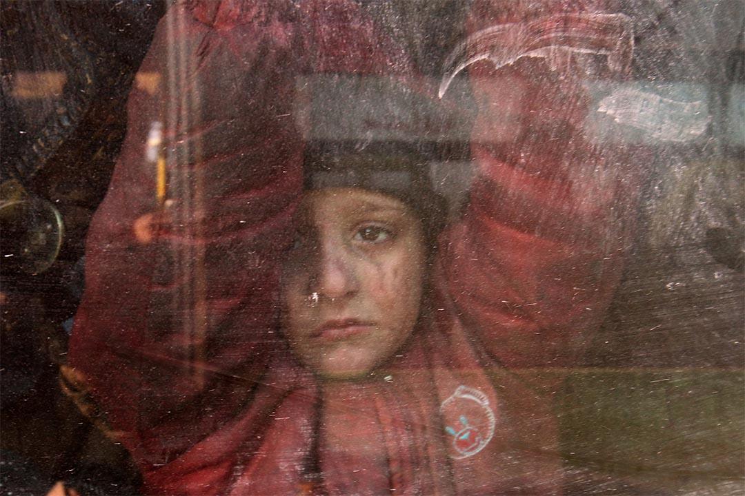 2016年12月18日,敍利亞,一個男童坐在撤離阿勒頗的車上。