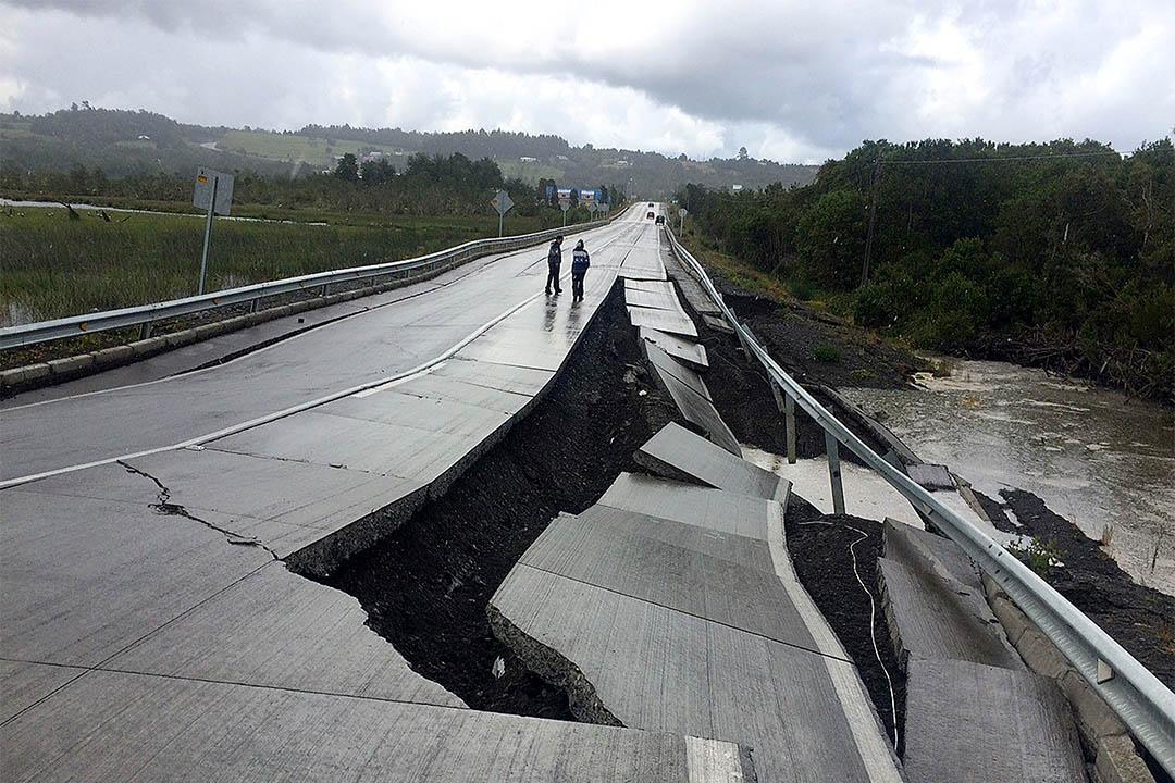 智利發生7.6級地震。