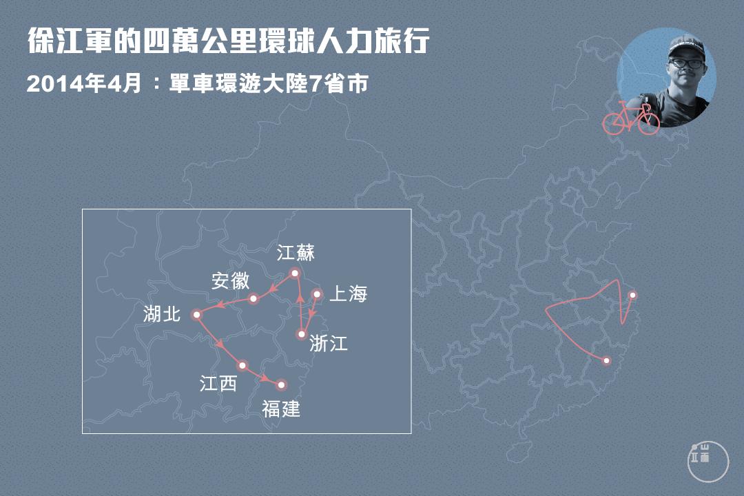 徐江軍在中國境內完成了2000多公里旅程。