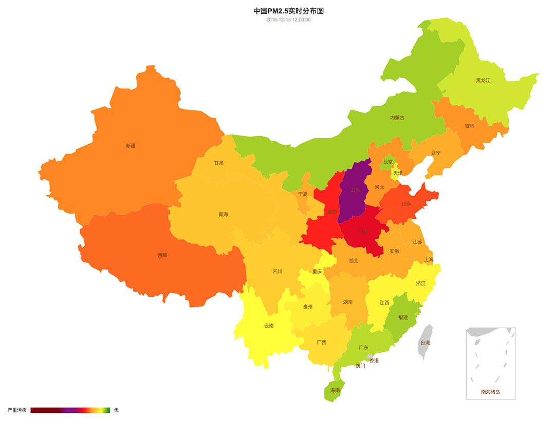 中國空氣質量在12月15日至21日的變化。圖-12月15日。