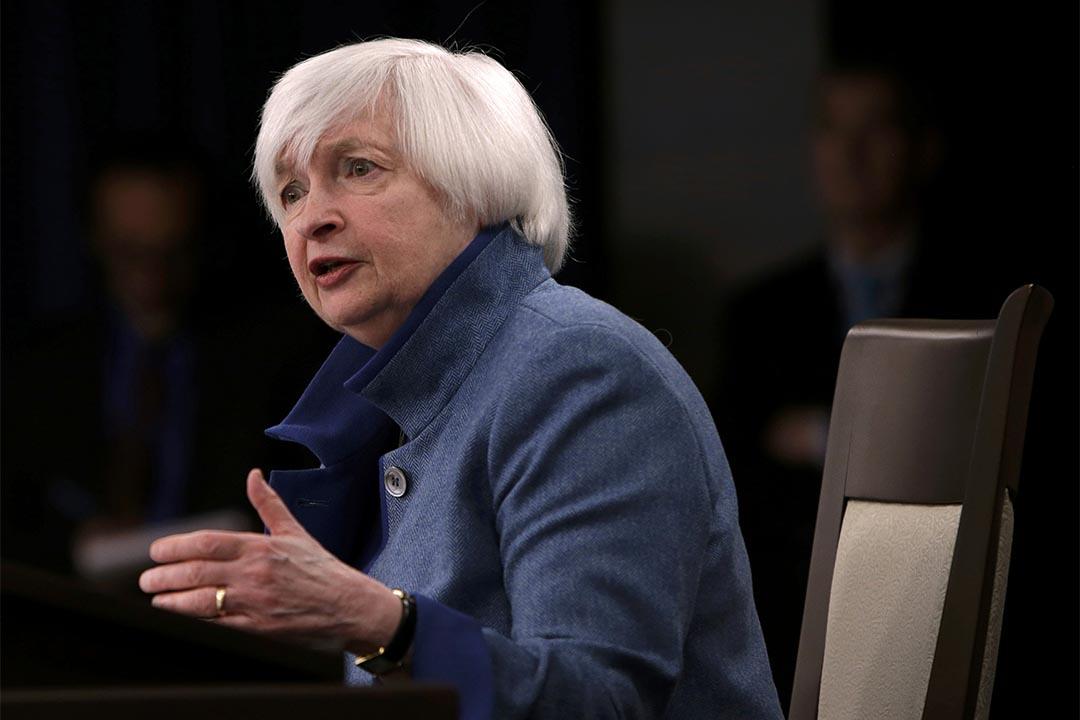 美聯儲宣布加息。2016年12月14日,美國華盛頓,聯儲局主席耶倫主持記者會。
