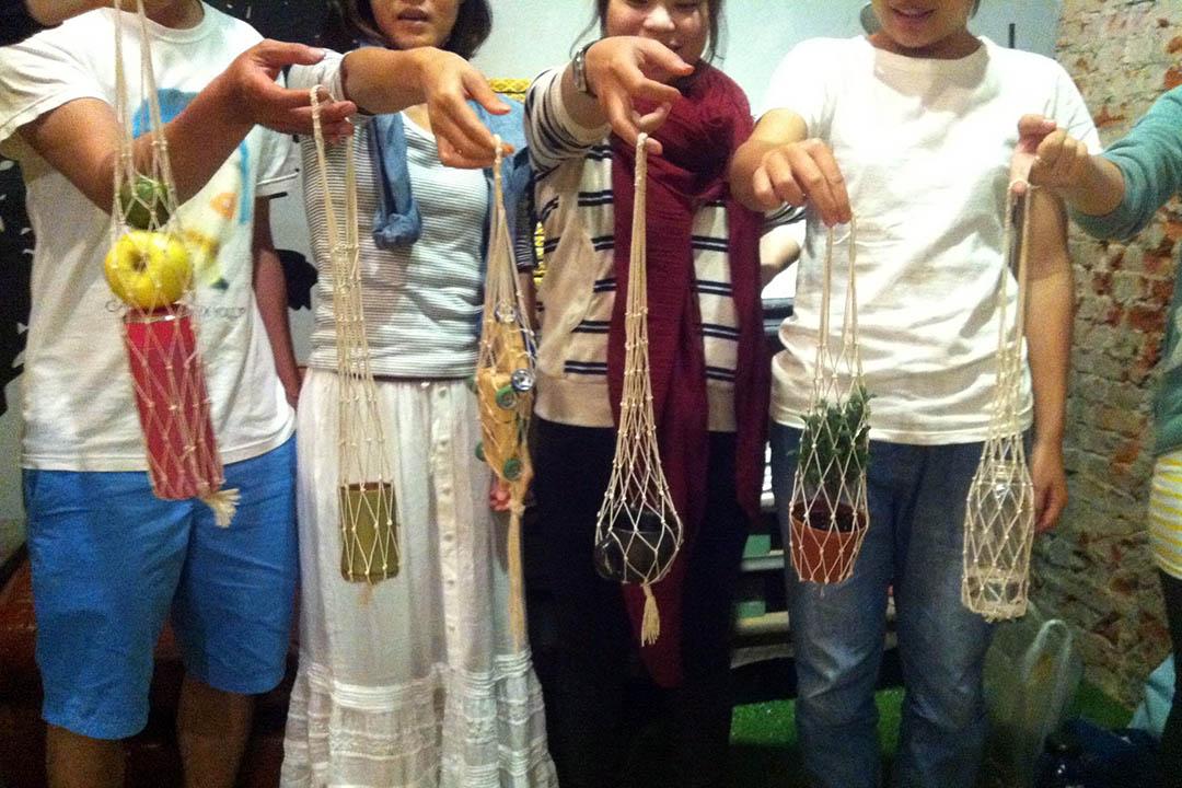蔬果編織袋課程。