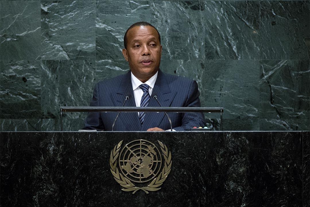 圖為2016年9月23日,聖多美普林西比首相Patrice Emery Trovoada在聯合國會議上發言。
