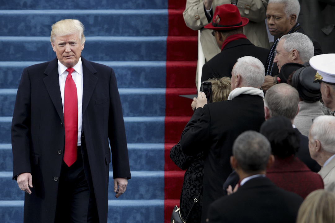 特朗普正式接替奧巴馬,成為第45任美國總統。他在就職宣誓後發表講話,作出了總統任內首個修補政治裂痕的嘗試。攝:Alex Wong/Getty Images