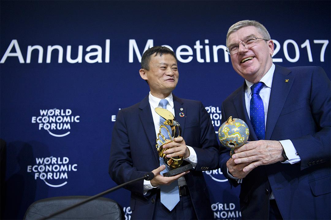 阿里巴巴與國際奧委會在瑞士達沃士市舉行的世界經濟論壇宣佈簽定12年的全球贊助協議。