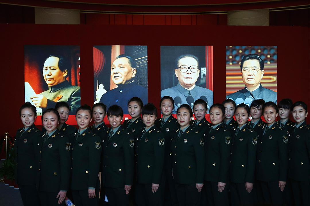 2012年10月31日,中國共產黨第十八次全國代表大會中的一個展覽,展示中國過去十年在政治,經濟,文化和生態進展。