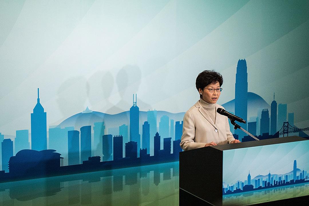 林鄭月娥於2017年1月16日出席記者招待會,宣布參選特首。