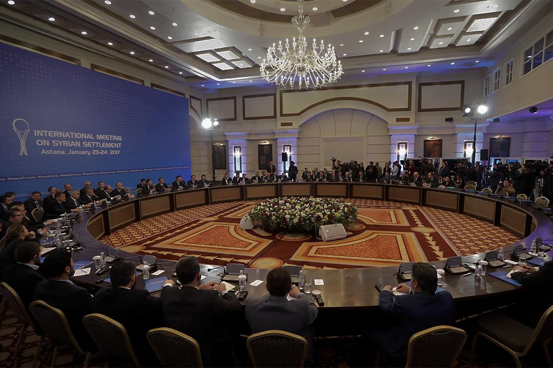 2017年1月23日,俄羅斯和土耳其主導的敘利亞和平談判在哈薩克斯坦阿斯塔納的一家酒店舉行。