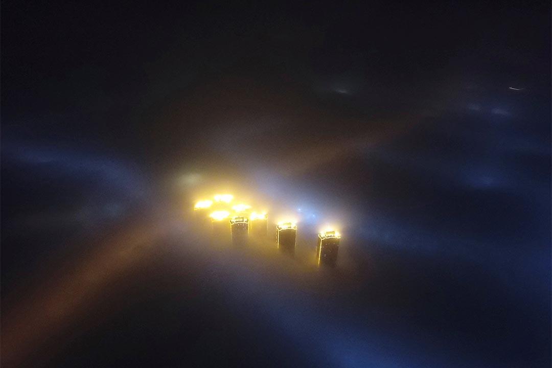 2017年1月3日,中國天津,霧霾籠罩城市。