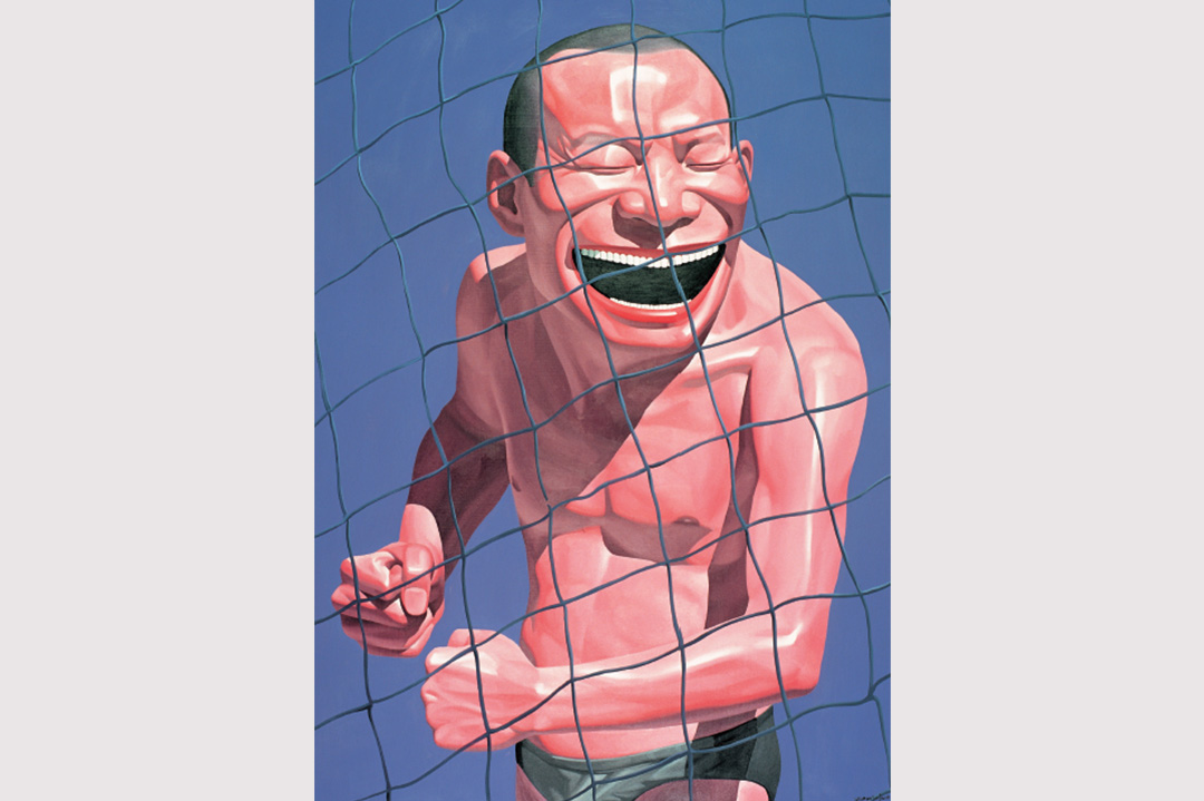岳敏君插畫「拳頭」。