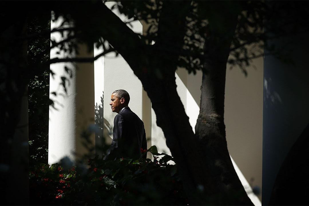 2015年9月14日,奧巴馬離開辦公室時的畫面。