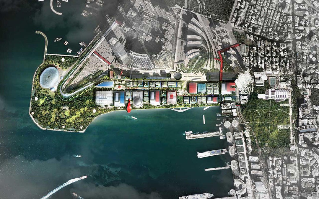 陳元敬認為西九文化區是一個整體,改變了一個建築,整個規劃也隨之然受影響。圖為Foster + Partners 設計的概念圖。