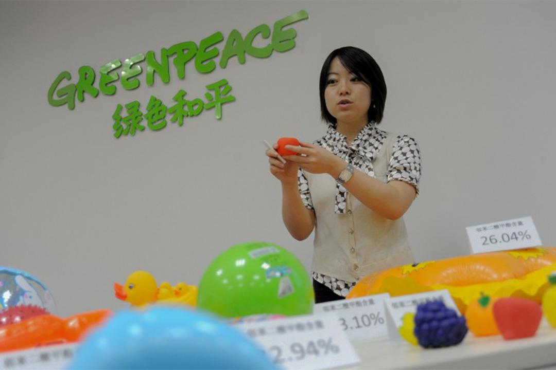 圖為環保組織綠色和平在北京舉行的一次新聞發布會。