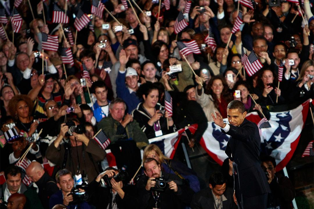 奧巴馬亦憑藉著出色的數據分析跑贏競爭對手。圖為2008年11月4日,奧巴馬在芝加哥向支持者發表勝利講話。