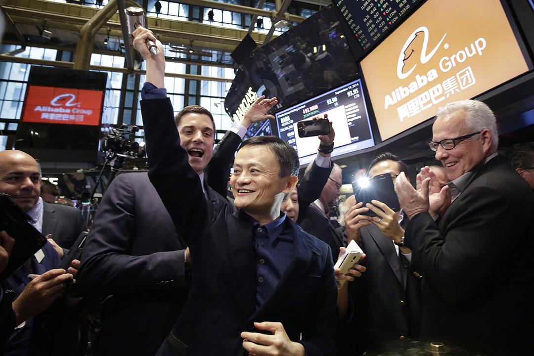 圖為2014年9月19日,阿里巴巴在紐交所正式開始交易,馬雲接受採訪。