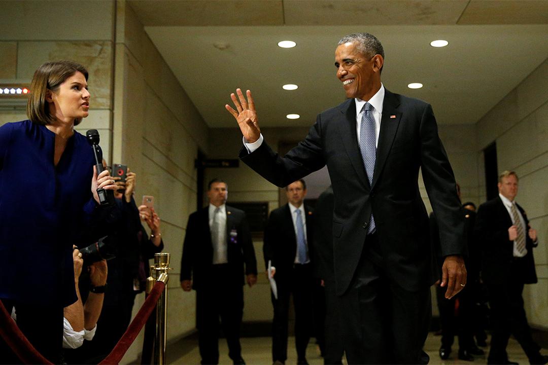 2017年1月4日,美國總統奧巴馬於美國國會大廈與兩院討論《奧巴馬醫保》問題。