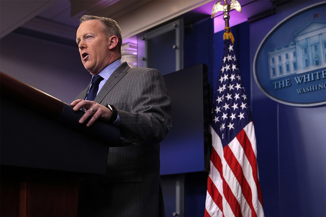 白宮新聞秘書斯派塞(Sean Spicer)。