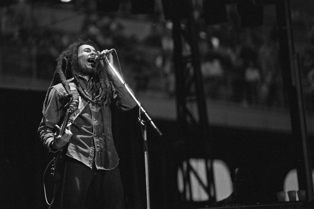 Reggae象征性的人物牙買加歌手Bob Marley。