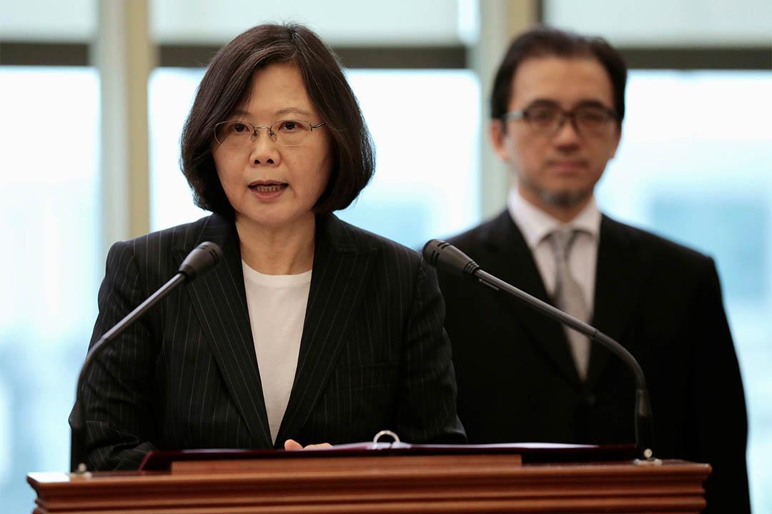 司法國是會議由台灣總統蔡英文主持。圖為2017年1月7日,蔡英文於外訪前記者會發言。