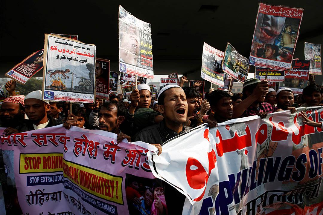 2016年12月19日,印度新德里,羅興雅人穆斯林難民抗議緬甸政府屠殺行為。