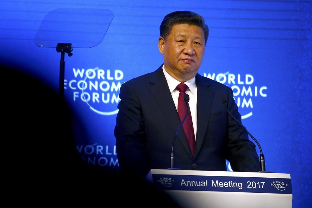 2017年1月17日,習近平在世界經濟論壇發表講話。