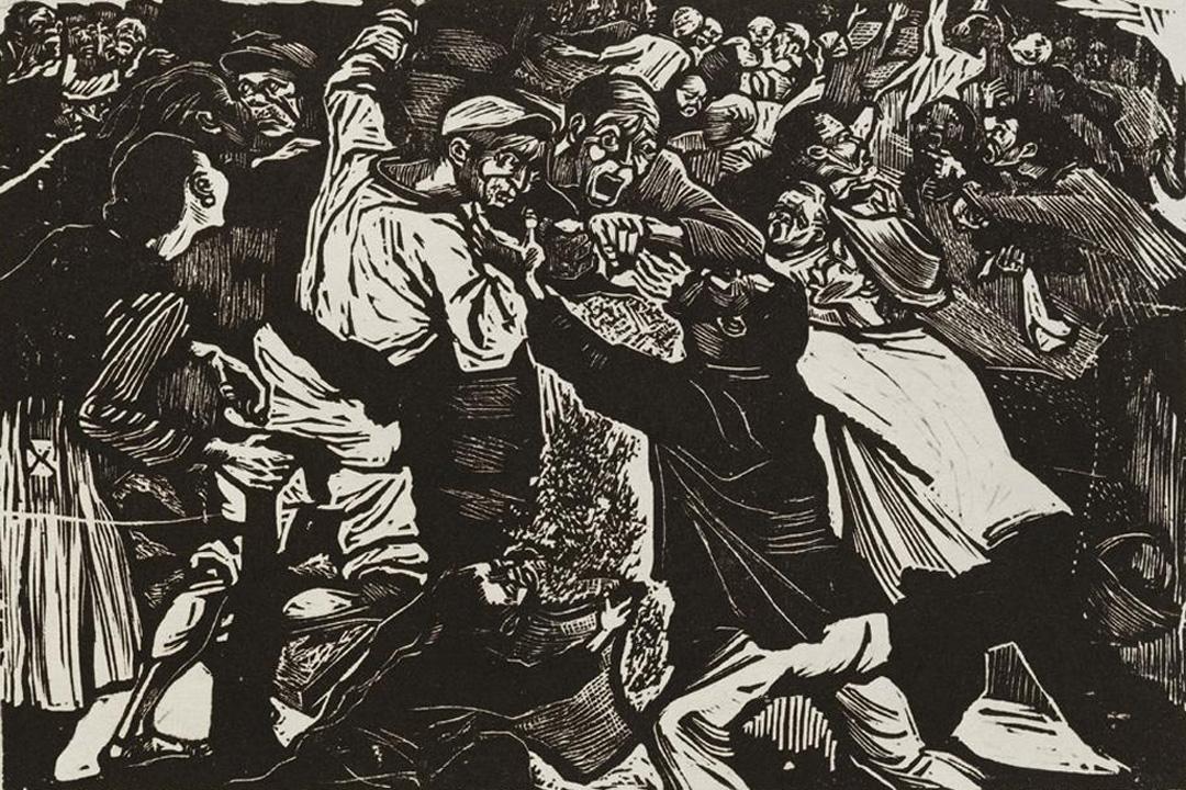 汪刃鋒的木刻版畫《為了米》(1948)反映出二二八事件發生前,臺灣人民驚慌搶米的混亂情況。