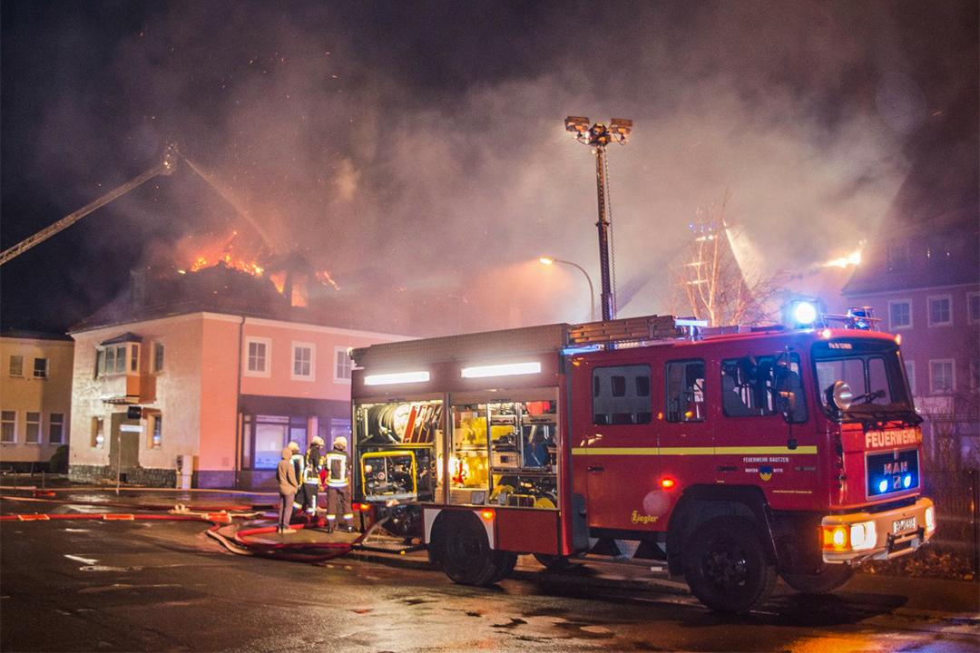 2016年2月21日,德國薩克森州一座正改建成移民收容所的酒店失火。