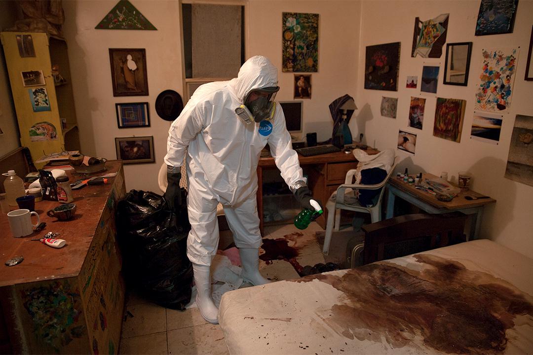 清理犯罪現場的情境。